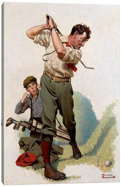 The Golfer by Norman Rockwell Canvas Wall Art