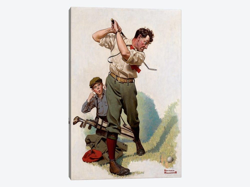 The Golfer by Norman Rockwell 1-piece Canvas Art Print