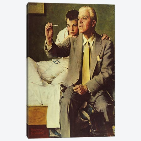 Doctor and Boy Looking at Thermometer Canvas Print #NRL200} by Norman Rockwell Canvas Print