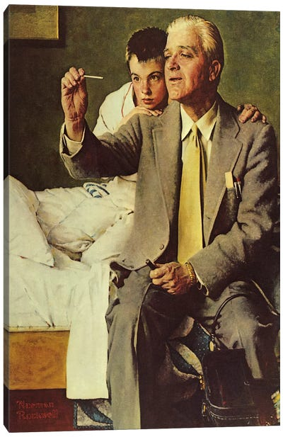 Doctor and Boy Looking at Thermometer Canvas Art Print