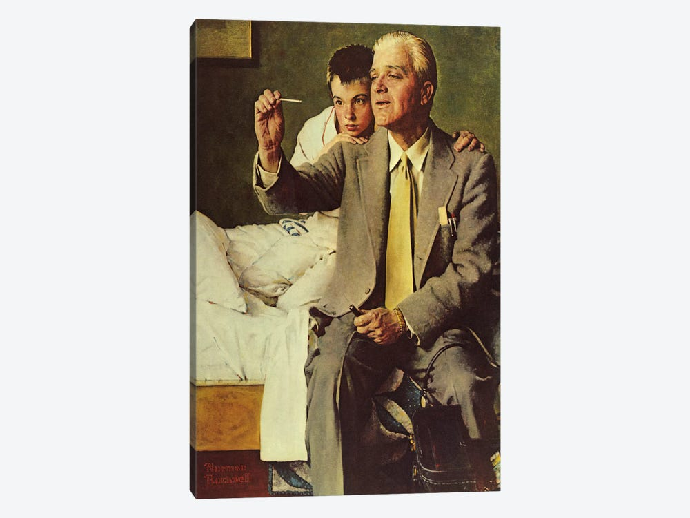 Doctor and Boy Looking at Thermometer by Norman Rockwell 1-piece Canvas Art