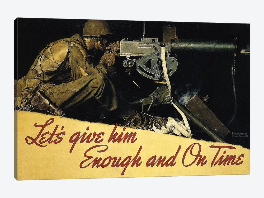 Let's Give Him Enough and on Time by Norman Rockwell 1-piece Canvas Artwork