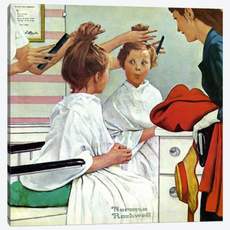 First Trip to the Beauty Shop Canvas Print #NRL204} by Norman Rockwell Canvas Artwork