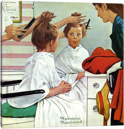 First Trip to the Beauty Shop by Norman Rockwell Canvas Artwork