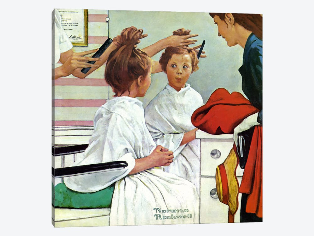 First Trip to the Beauty Shop by Norman Rockwell 1-piece Canvas Wall Art