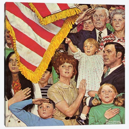 Salute the Flag Canvas Print #NRL205} by Norman Rockwell Canvas Wall Art