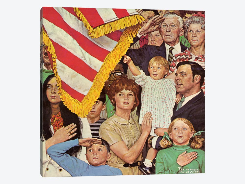 Salute the Flag by Norman Rockwell 1-piece Canvas Print