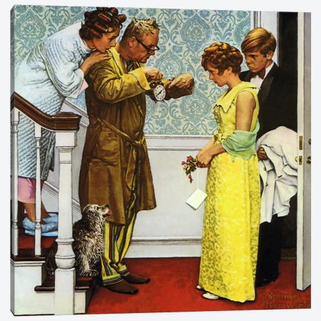 First Date - Home Late Canvas Print #NRL207} by Norman Rockwell Canvas Wall Art