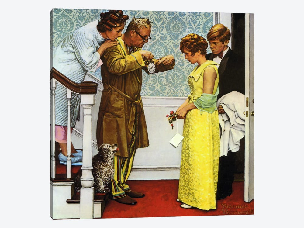 First Date Home Late Canvas Artwork By Norman Rockwell