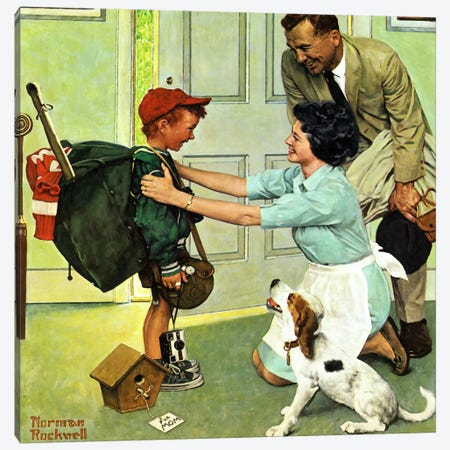 Home from Camp 3-Piece Canvas #NRL209} by Norman Rockwell Canvas Art Print