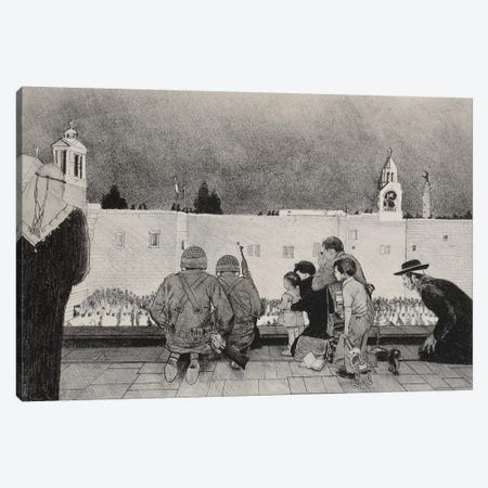 Uneasy Christmas in the Birthplace of Peace Black & White Canvas Print #NRL20} by Norman Rockwell Canvas Artwork
