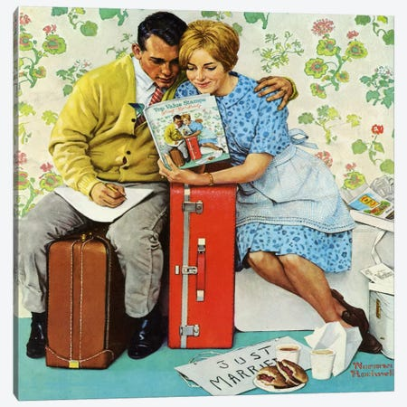 The Newlyweds Canvas Print #NRL210} by Norman Rockwell Canvas Wall Art