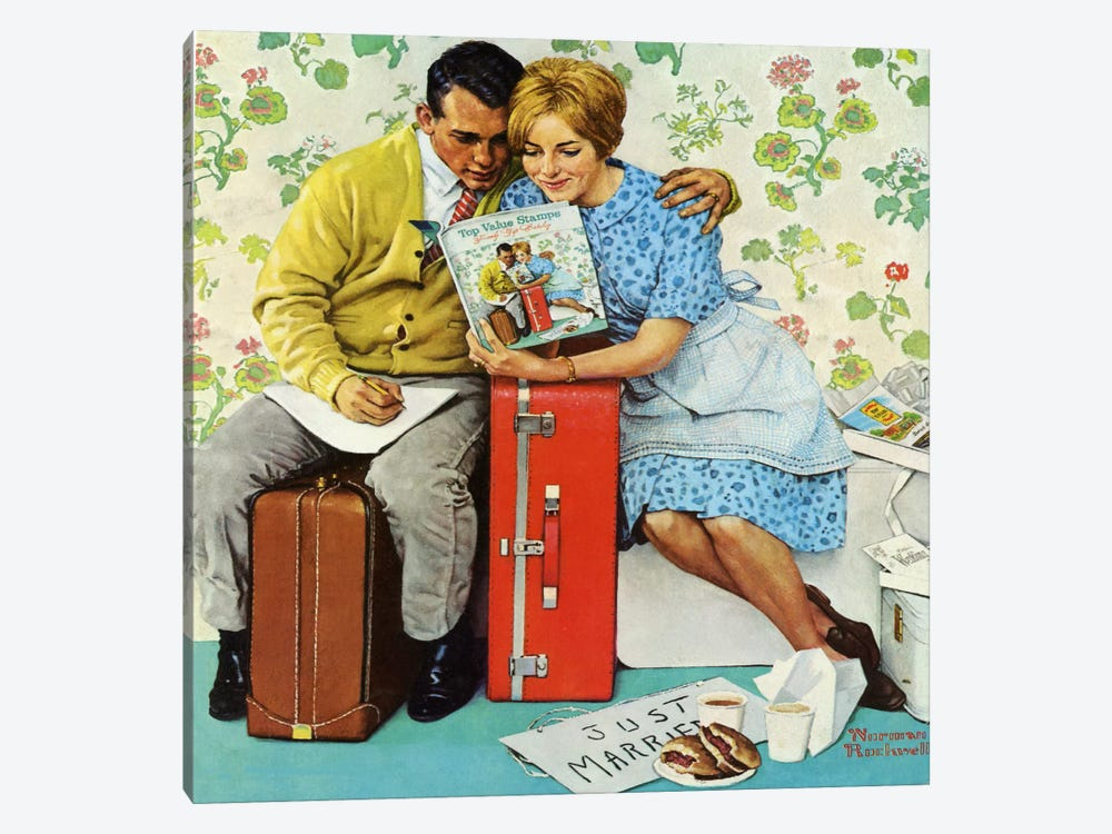 The Newlyweds by Norman Rockwell 1-piece Canvas Art Print