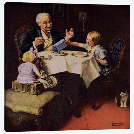 The More Raisins the Better the Pudding Canvas Print #NRL219} by Norman Rockwell Canvas Artwork