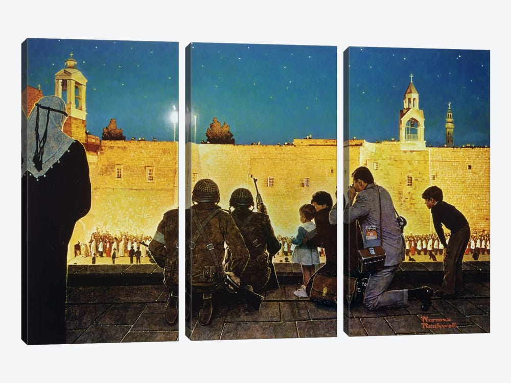 Uneasy Christmas in the Birthplace of Peace by Norman Rockwell 3-piece Canvas Artwork