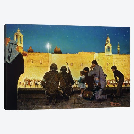 Uneasy Christmas in the Birthplace of Peace Canvas Print #NRL21} by Norman Rockwell Canvas Wall Art