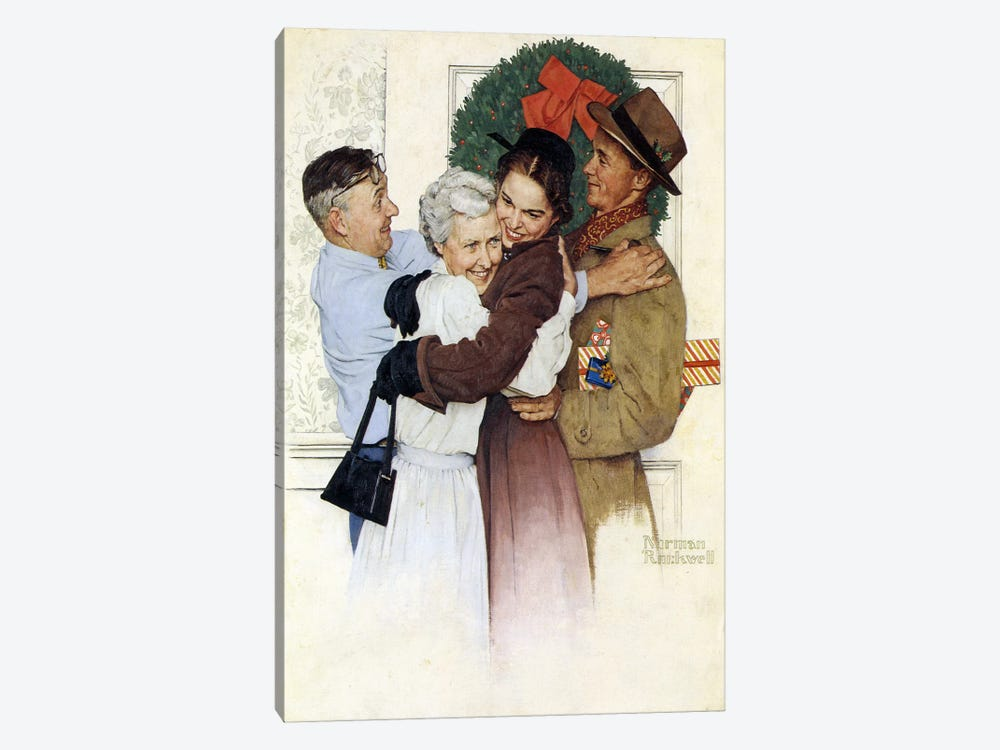 Home for Christmas by Norman Rockwell 1-piece Canvas Wall Art