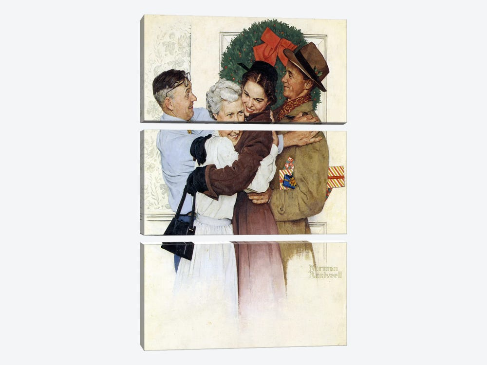 Home for Christmas by Norman Rockwell 3-piece Canvas Wall Art