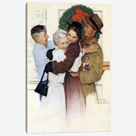 Home for Christmas 3-Piece Canvas #NRL224} by Norman Rockwell Canvas Artwork