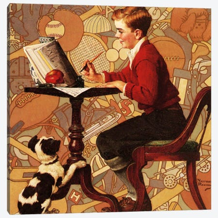 Boy Reading Sears Catalogue Canvas Print #NRL225} by Norman Rockwell Canvas Art