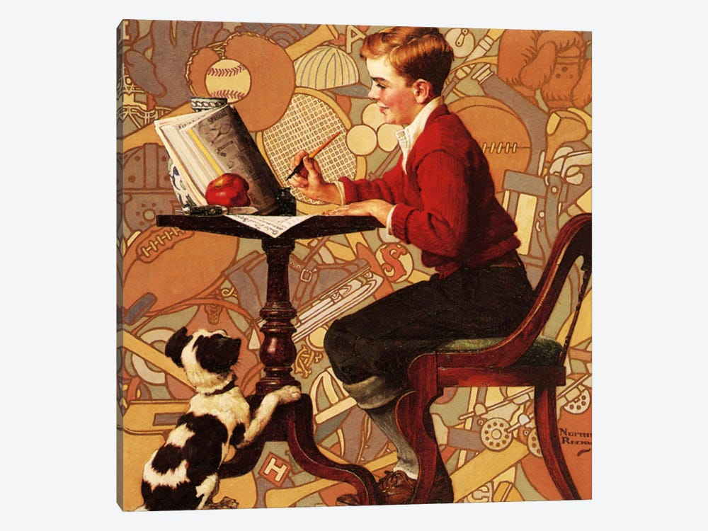 Boy Reading Sears Catalogue by Norman Rockwell 1-piece Art Print