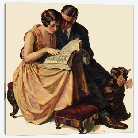 Young Couple Looking at Catalogue Canvas Print #NRL226} by Norman Rockwell Canvas Artwork