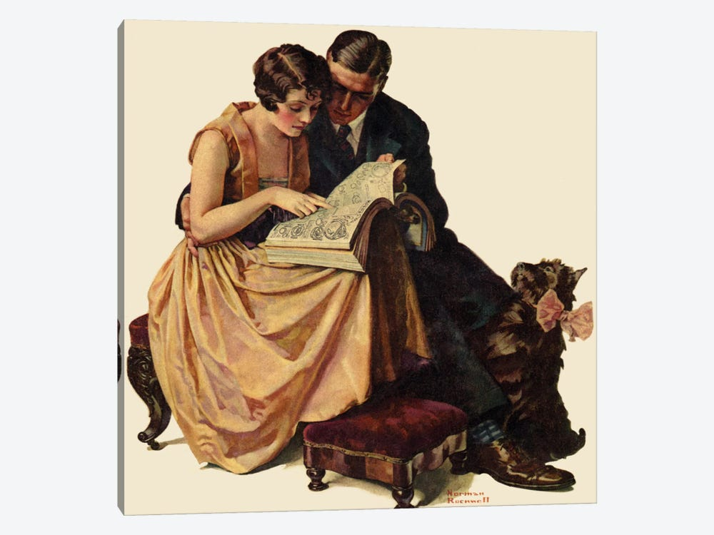 Young Couple Looking at Catalogue by Norman Rockwell 1-piece Canvas Wall Art