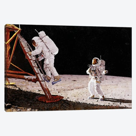 The Final Impossibility: Man's Tracks on the Moon Canvas Print #NRL22} by Norman Rockwell Canvas Wall Art