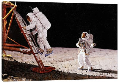 The Final Impossibility: Man's Tracks on the Moon by Norman Rockwell Canvas Wall Art