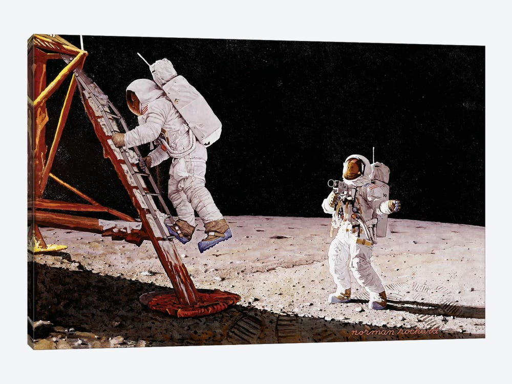 The Final Impossibility: Man's Tracks on the Moon by Norman Rockwell 1-piece Art Print