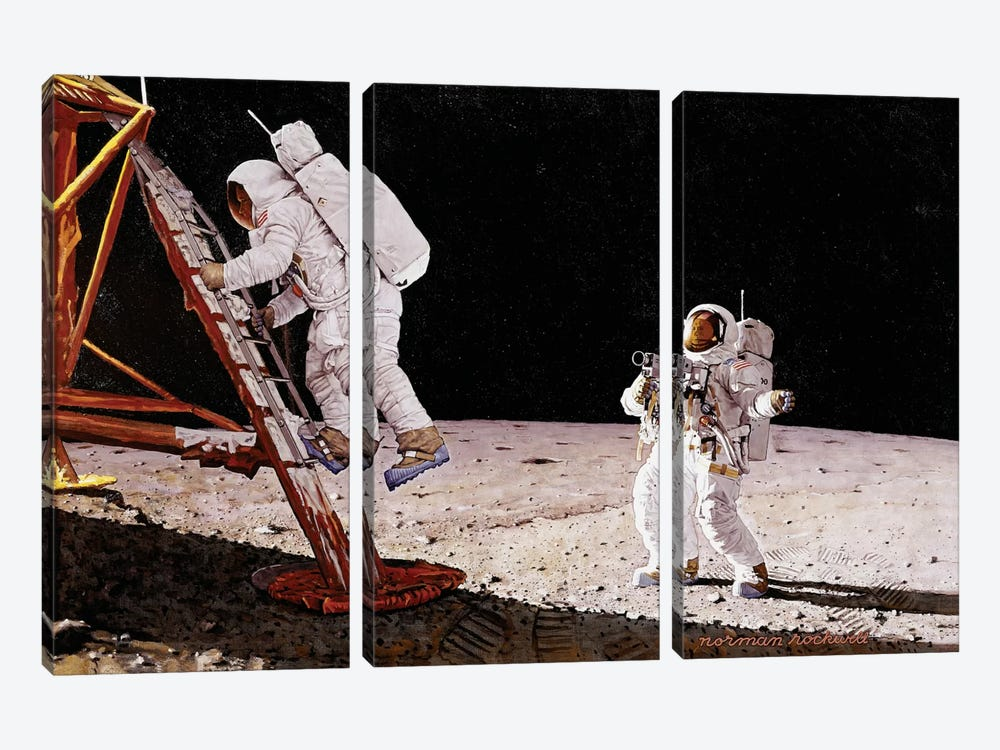 The Final Impossibility: Man's Tracks on the Moon by Norman Rockwell 3-piece Art Print