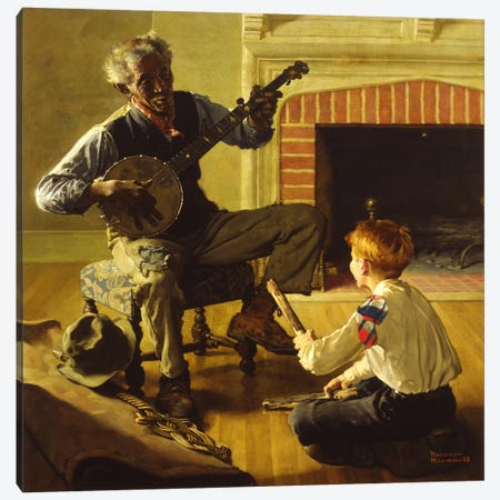 The Banjo Player Canvas Print #NRL233} by Norman Rockwell Canvas Artwork