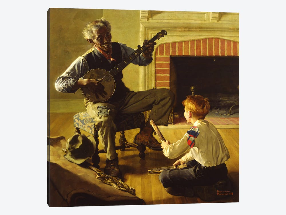 The Banjo Player by Norman Rockwell 1-piece Canvas Art