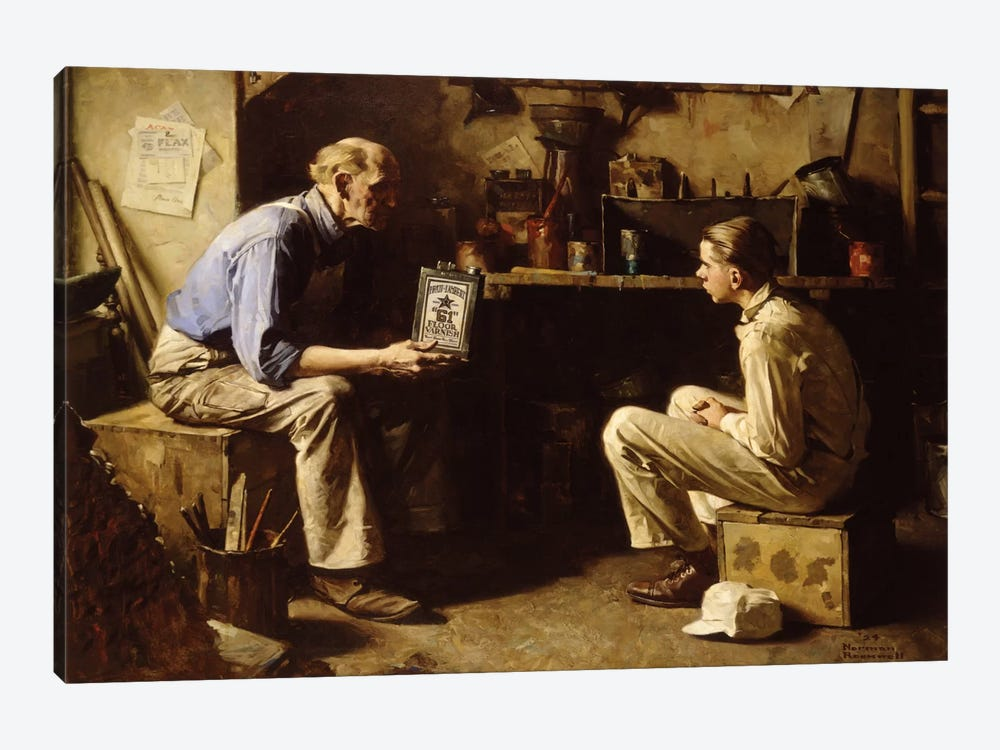 The Master and the Apprentice by Norman Rockwell 1-piece Canvas Print