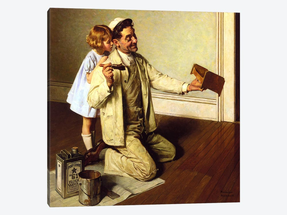 Man Varnishing Doll's Bed for Little Girl by Norman Rockwell 1-piece Art Print