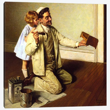 Man Varnishing Doll's Bed for Little Girl Canvas Print #NRL241} by Norman Rockwell Art Print