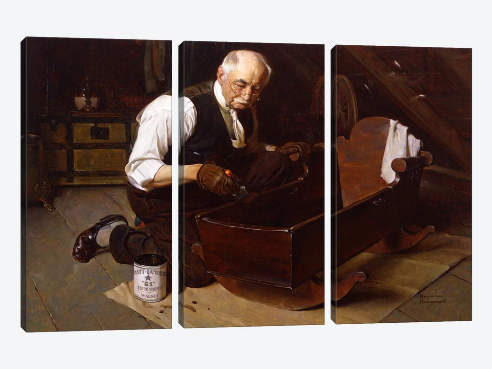 Grandpa's Gift by Norman Rockwell 3-piece Canvas Artwork