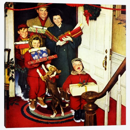 """""""Merry Christmas, Grandma...We Came in Our New Plymouth!"""" Canvas Print #NRL244} by Norman Rockwell Canvas Art"""