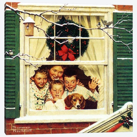 """""""Oh, Boy! It's Pop with a New Plymouth!"""" Canvas Print #NRL245} by Norman Rockwell Canvas Artwork"""