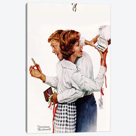 They Gave Each Other a Parker 61 Pen Canvas Print #NRL247} by Norman Rockwell Canvas Art