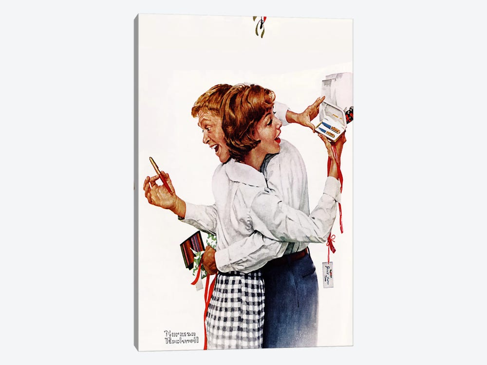 They Gave Each Other a Parker 61 Pen by Norman Rockwell 1-piece Canvas Print