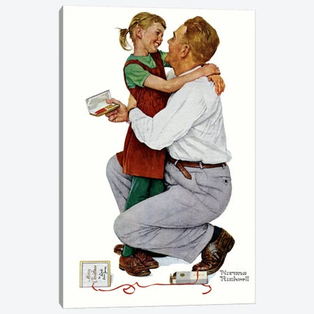 She Gave Me a Parker 61 Canvas Print #NRL248} by Norman Rockwell Art Print