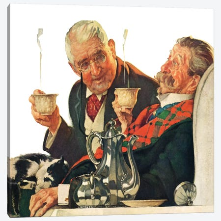 Two Gentlemen with Coffee Canvas Print #NRL255} by Norman Rockwell Canvas Print