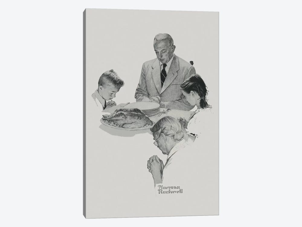 Thanksgiving by Norman Rockwell 1-piece Canvas Art Print