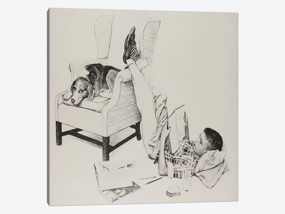 Teenager Studying by Norman Rockwell 1-piece Canvas Art