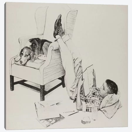 Teenager Studying Canvas Print #NRL257} by Norman Rockwell Canvas Art Print