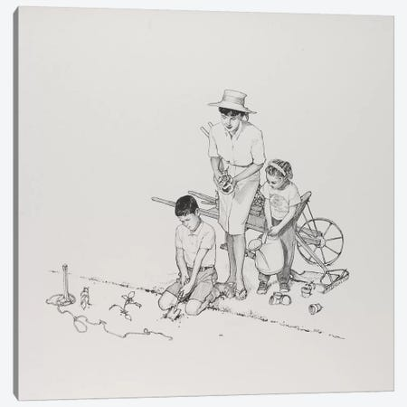 Planting the Garden Canvas Print #NRL259} by Norman Rockwell Canvas Artwork