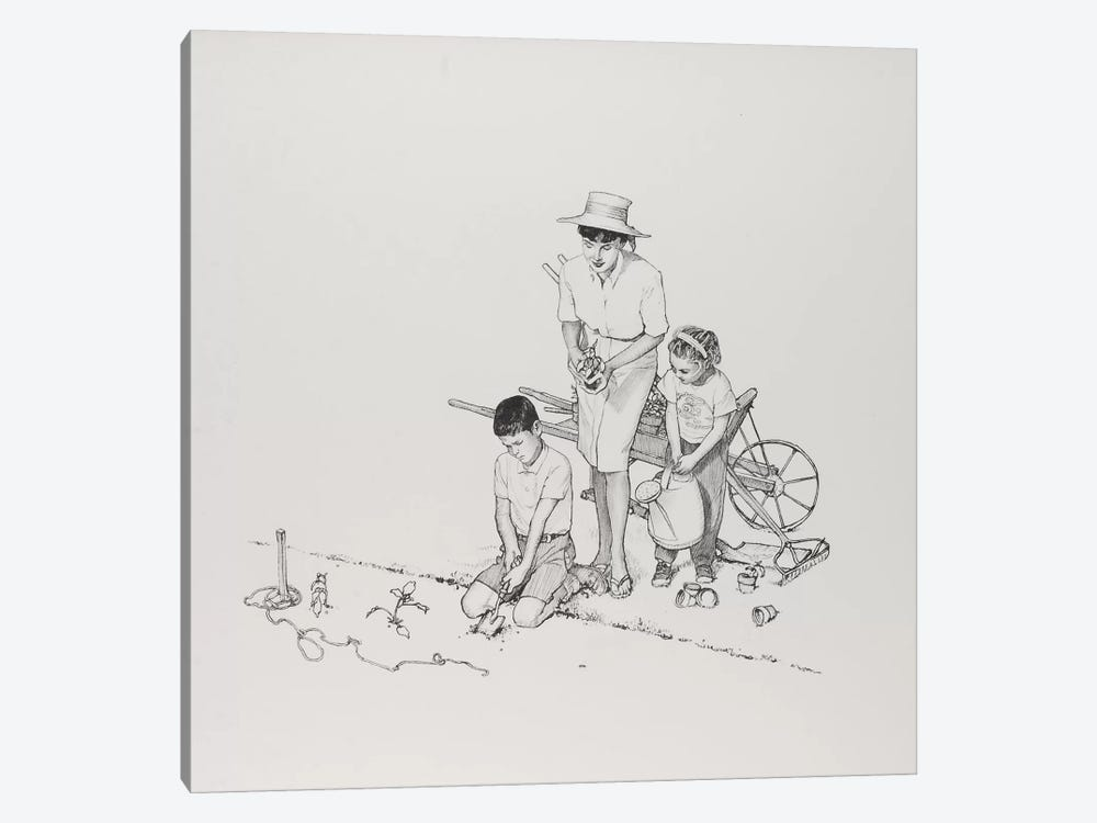 Planting the Garden by Norman Rockwell 1-piece Canvas Art