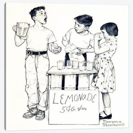 Lemonade Stand Canvas Print #NRL260} by Norman Rockwell Canvas Art Print