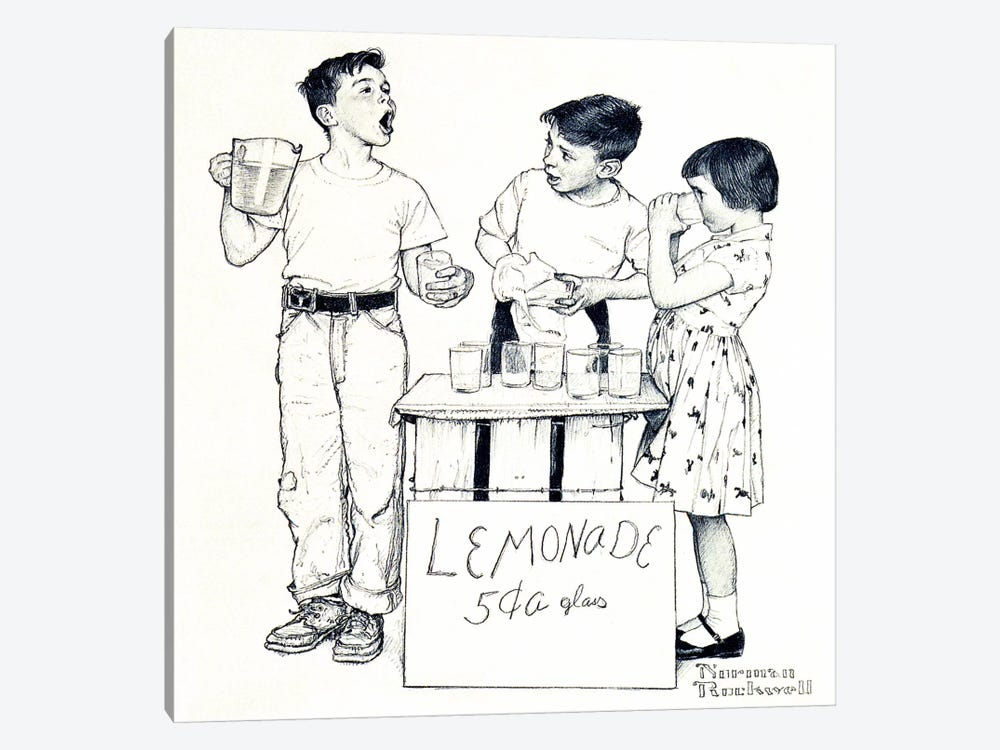 Lemonade Stand by Norman Rockwell 1-piece Canvas Artwork